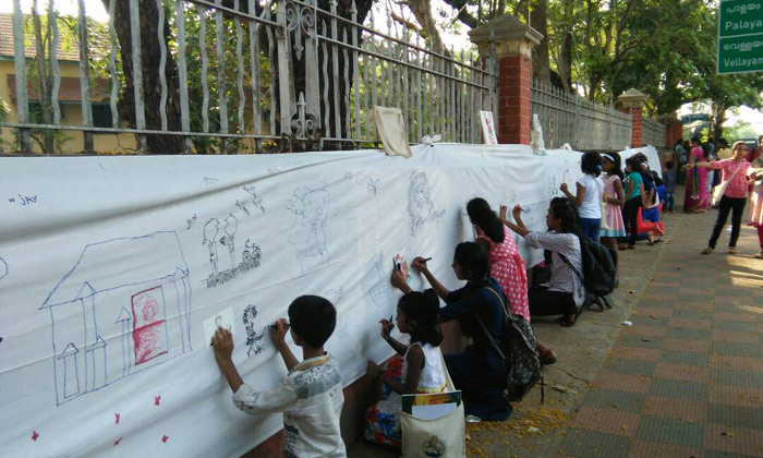 Fiep Festival concludes in Kerala with a banner painting on the street!!